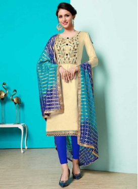 Blue and Cream Cotton Trendy Churidar Salwar Kameez