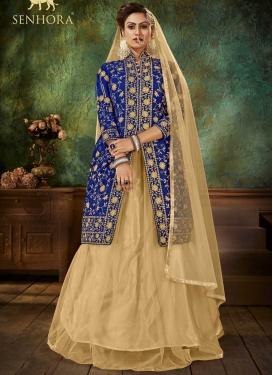 Blue and Cream Designer Kameez Style Lehenga Choli For Party