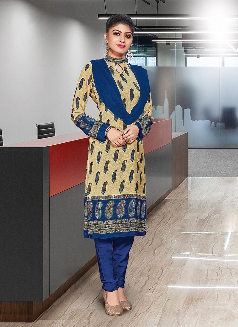 Blue And Cream Print Casual Churidar Suit