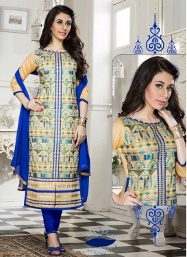 Blue and Cream Trendy Churidar Suit For Ceremonial