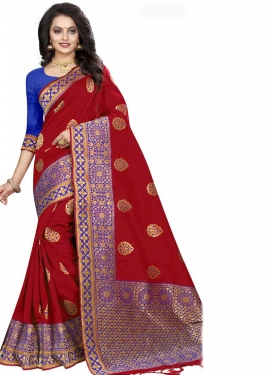 Blue and Crimson Contemporary Style Saree