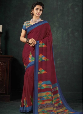 Blue and Crimson Digital Print Work Crepe Silk Traditional Saree