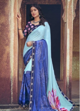 Blue and Firozi Digital Print Work Designer Contemporary Saree