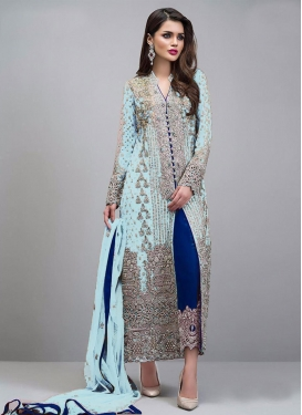 Blue and Firozi Faux Georgette Pant Style Salwar Kameez