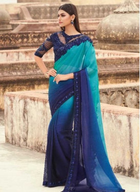Blue and Firozi Satin Georgette Contemporary Style Saree