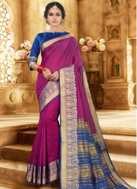 Blue and Fuchsia Trendy Classic Saree For Casual