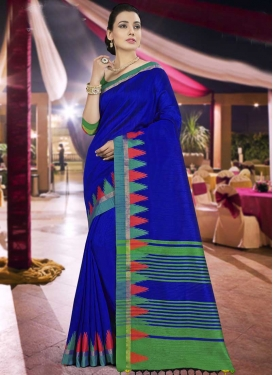Blue and Green Art Silk Traditional Designer Saree