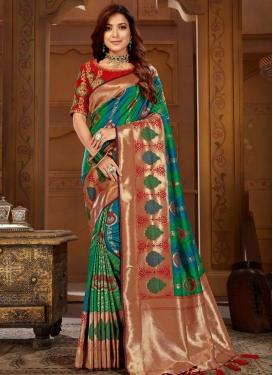 Blue and Green Jacquard Silk Trendy Classic Saree