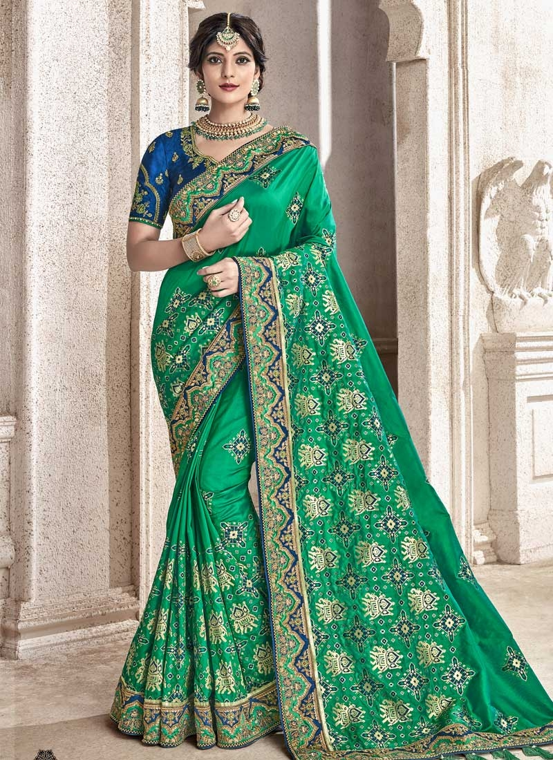 Blue and Green Trendy Saree For Festival