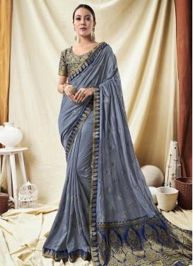Blue and Grey Classic Saree