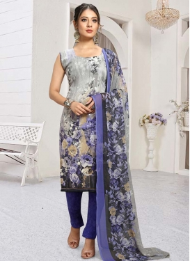 Blue and Grey Crepe Silk Pant Style Classic Salwar Suit