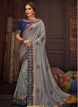Blue and Grey Embroidered Work Designer Contemporary Style Saree