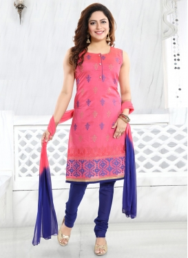 Blue and Hot Pink Readymade Churidar Salwar Suit For Festival