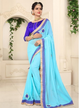 Blue and Light Blue Lace Work Classic Saree