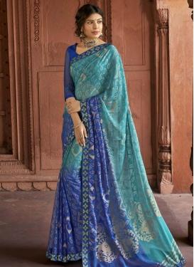 Blue and Light Blue Lace Work Designer Contemporary Saree
