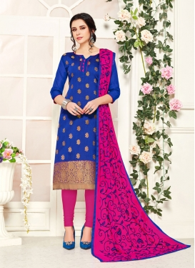 Blue and Magenta Woven Work Churidar Salwar Suit