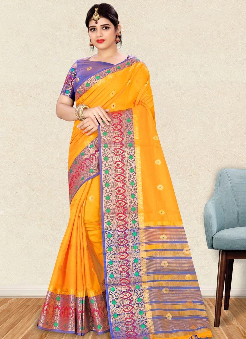 Blue and Mustard Art Silk Designer Traditional Saree
