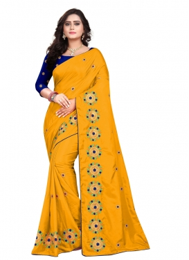 Blue and Mustard Embroidered Work Classic Saree