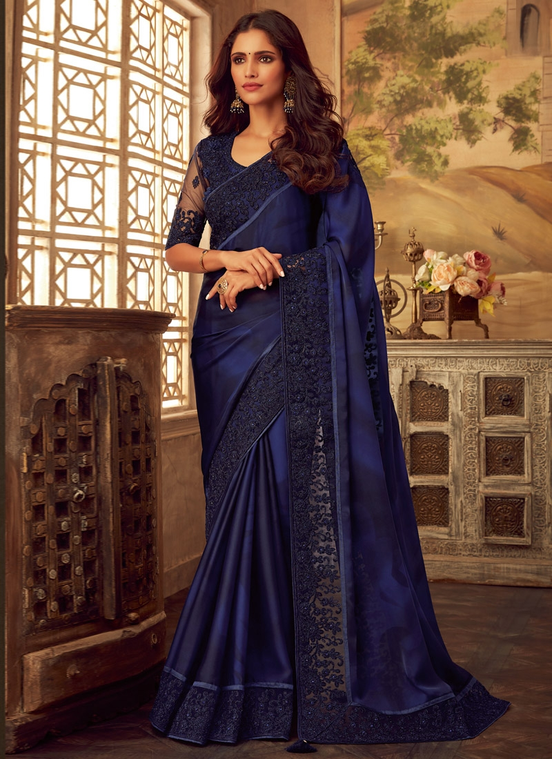 Blue and Navy Blue Contemporary Style Saree For Festival