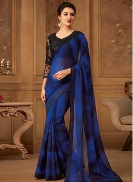 Blue and Navy Blue Designer Contemporary Saree For Ceremonial