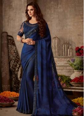 Blue and Navy Blue Traditional Designer Saree For Festival
