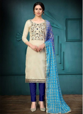 Blue and Off White Cotton Pant Style Classic Suit