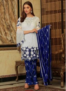Blue and Off White Embroidered Work Pant Style Designer Salwar Kameez