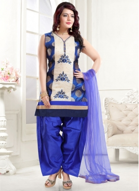 Blue and Off White Readymade Salwar Kameez For Ceremonial