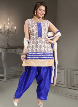 Blue and Off White Readymade Suit For Ceremonial