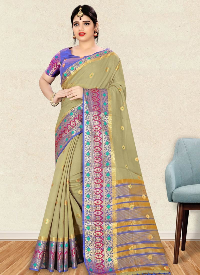 Blue and Olive Art Silk Contemporary Saree