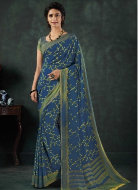Blue and Olive Contemporary Saree For Casual
