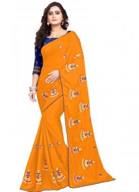 Blue and Orange Art Silk Trendy Classic Saree