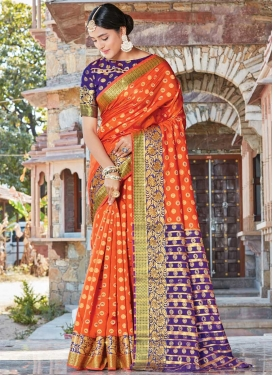 Blue and Orange Contemporary Style Saree For Festival