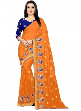 Blue and Orange Designer Contemporary Style Saree For Ceremonial