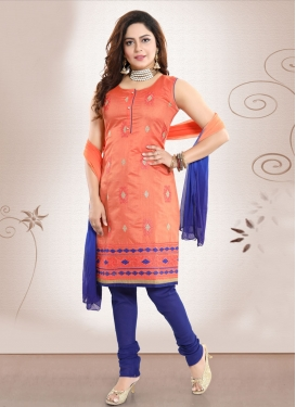 Blue and Orange Embroidered Work Readymade Churidar Salwar Kameez