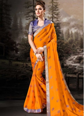 Blue and Orange Lace Work Designer Contemporary Saree