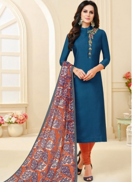 Blue and Orange Trendy Churidar Salwar Suit
