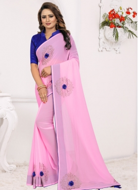 Blue and Pink Designer Contemporary Style Saree