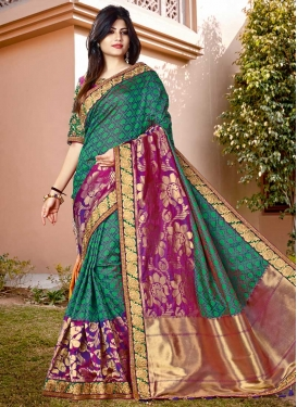 Blue and Purple Designer Traditional Saree