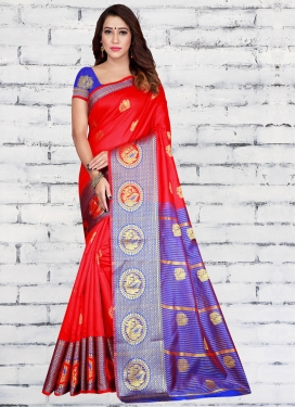 Blue and Red Designer Contemporary Saree For Casual