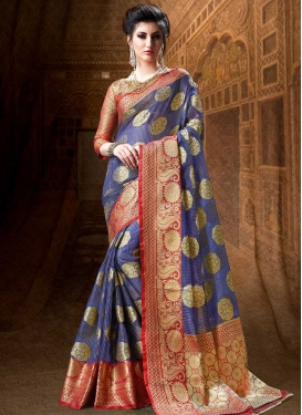 Blue and Red Designer Contemporary Style Saree
