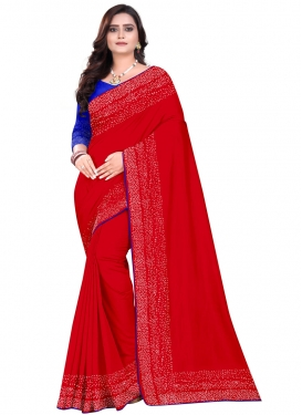 Blue and Red Thread Work Art Silk Trendy Saree