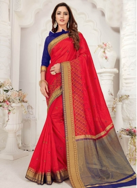 Blue and Red Trendy Classic Saree