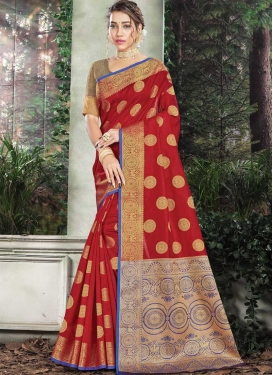 Blue and Red Woven Work Designer Contemporary Saree