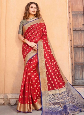 Blue and Red Woven Work Designer Contemporary Style Saree