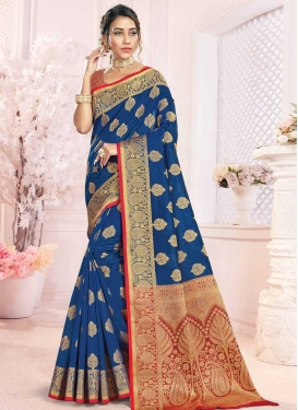 Blue and Red Woven Work Traditional Designer Saree