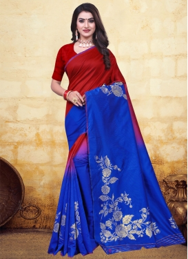 Blue and Red Woven Work Trendy Saree