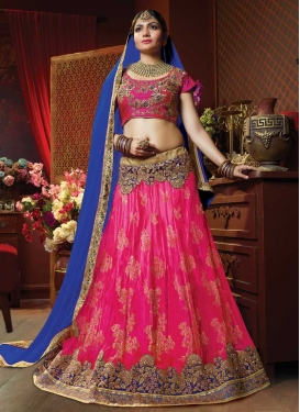 Blue and Rose Pink A - Line Lehenga For Bridal