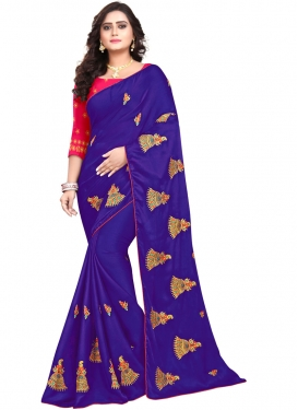 Blue and Rose Pink Art Silk Contemporary Style Saree