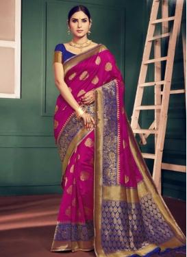 Blue and Rose Pink Art Silk Trendy Saree